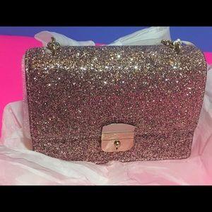 Kate Spade Rose Gold Glitter Crossbody Purse NWT